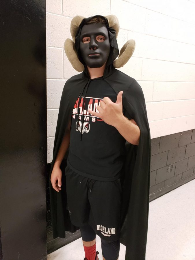 Ram Man prepares to make his entrance at the combined Homecoming & Black and Blue assembly.