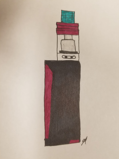 Artistic rendering of a vape mod, drawn by Jordan Iverson.