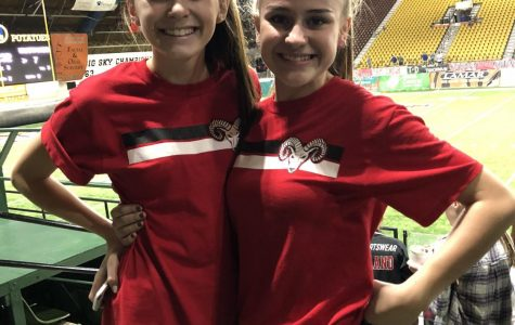 Andee Winn and Livia Jackson at the game against Eagle on Friday night.