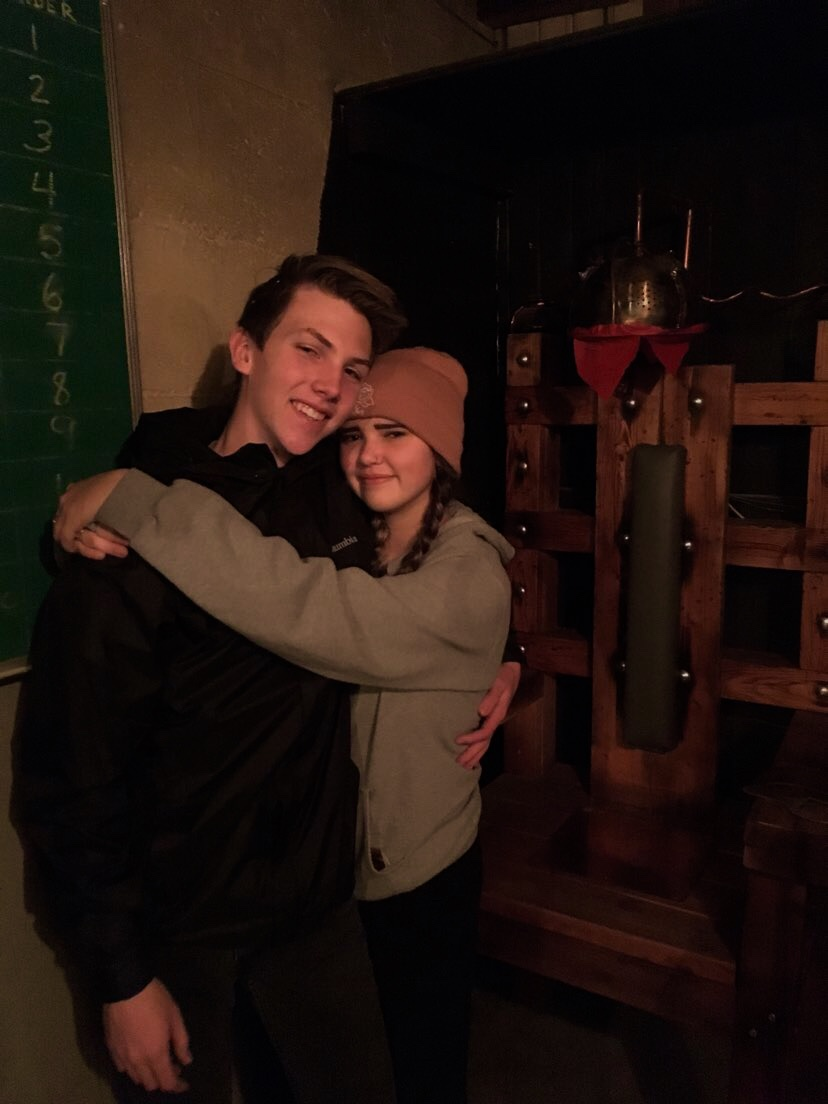 Jordan Iverson right, and Joel Besel Left, pose together after successfully escaping the cell-block.