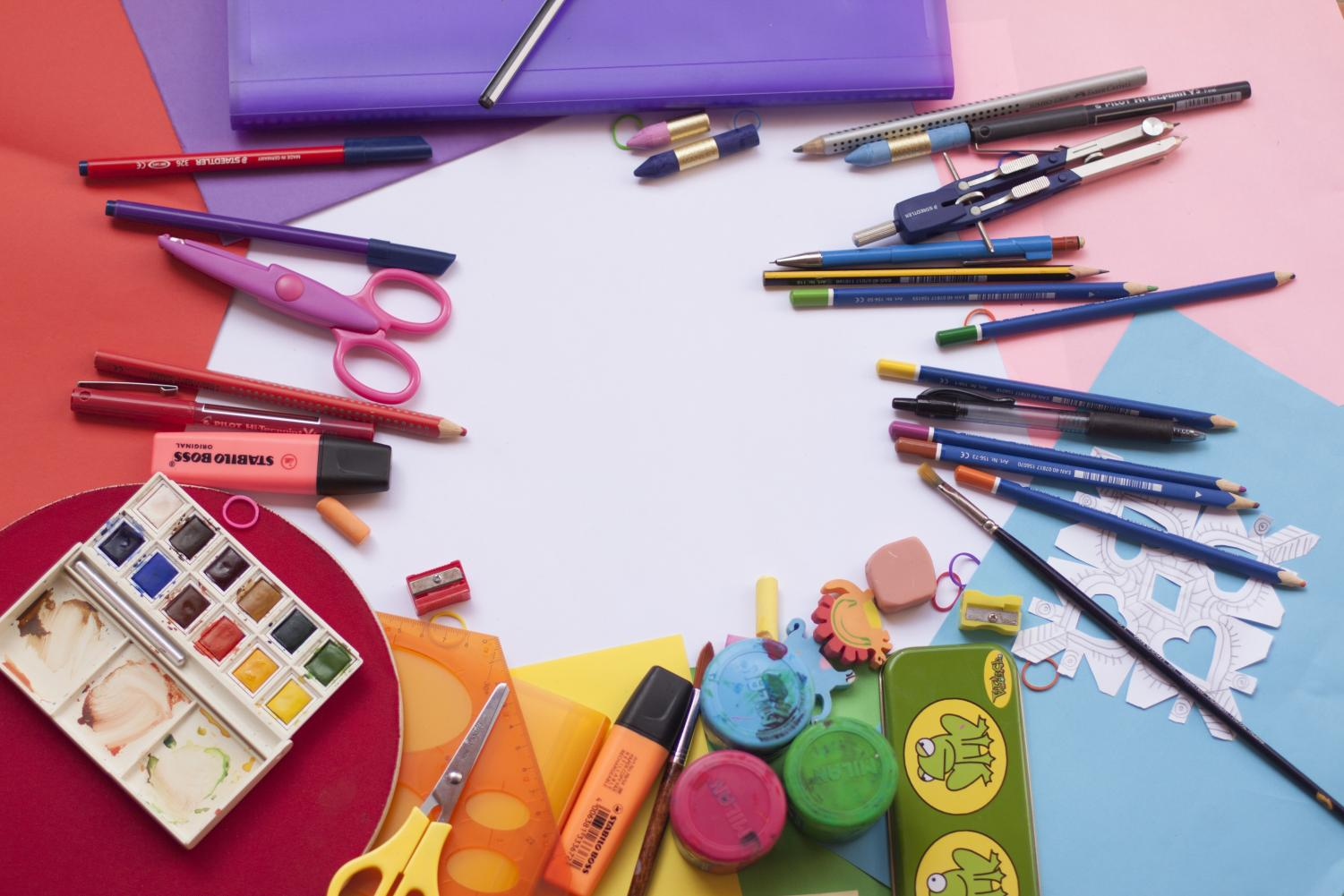 This is an image of some art supplies that are similar to the art supplies in Mrs. Speer's room.