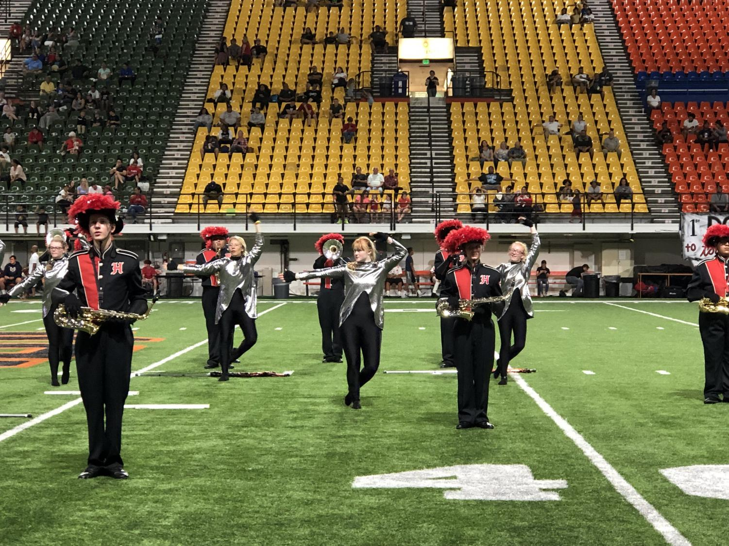 Marching band performance at ISU holt arena. Saturday, 8:40 p.m.