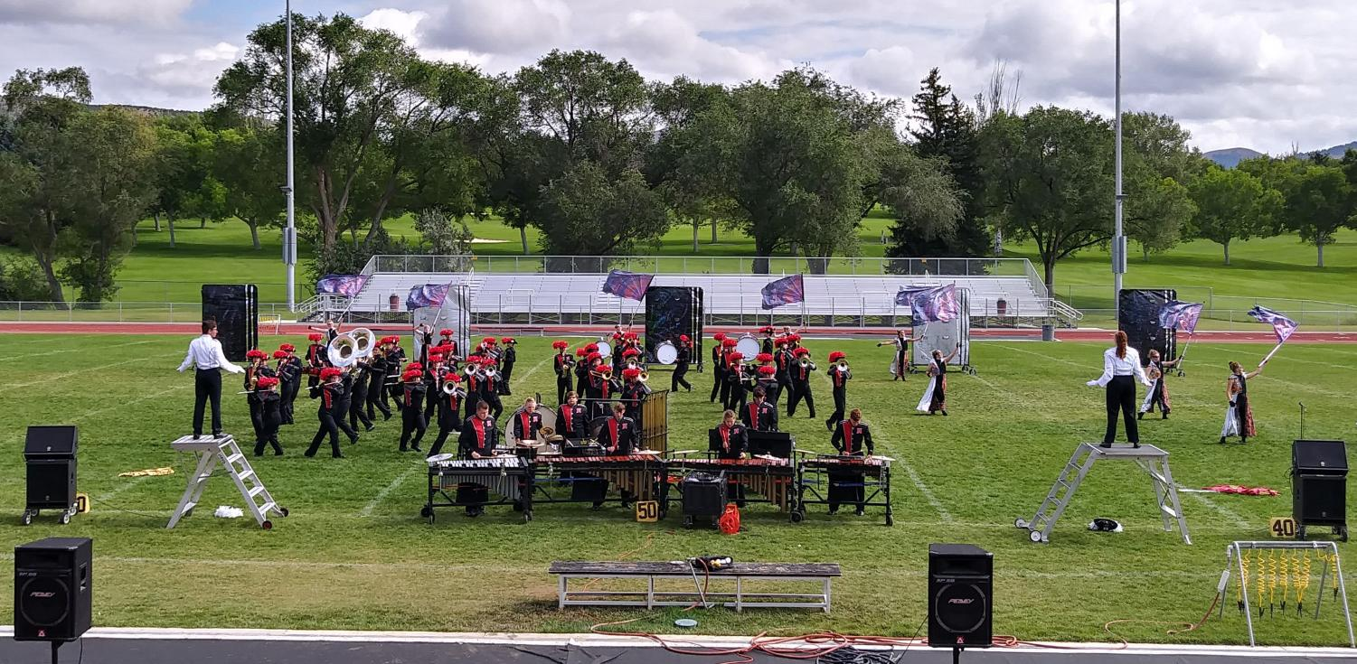 Highland Marching Band performs at Iron Horse Stadium on Saturday to receive feedback from judges.