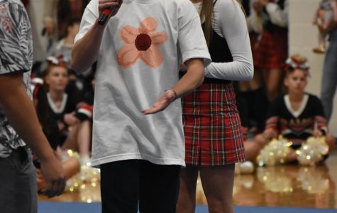 Carson King, president of student government is running the scavenger hunt on the opening day assembly in this picture. we can expect to see more of him during assemblies this year.
