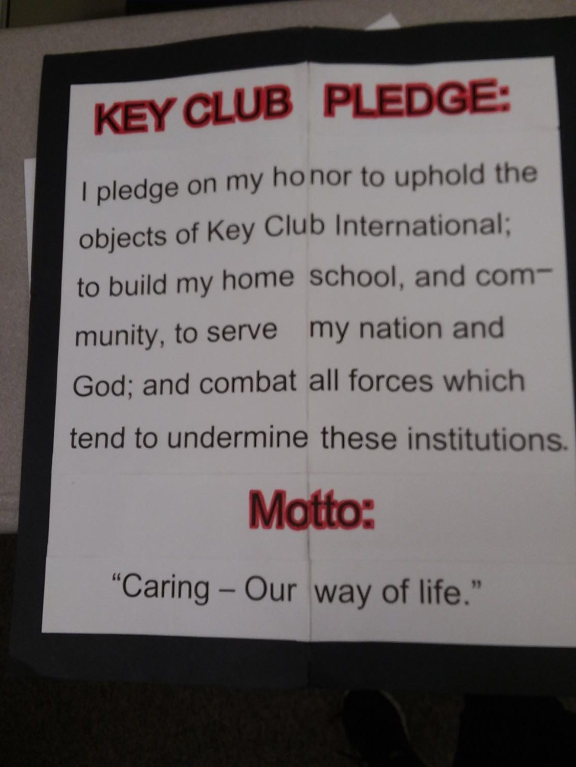 This is the key club pledge at HHS.