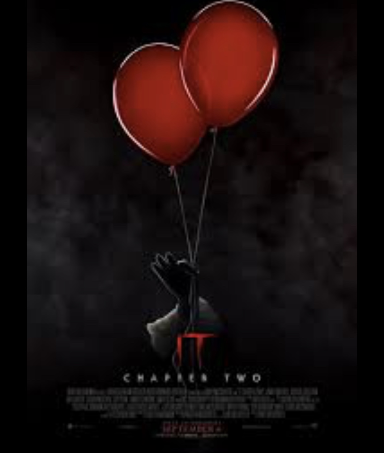 The IT chapter two poster came out two months before the movie came out.  In this picture Pennywise is being lifted off the ground by balloons