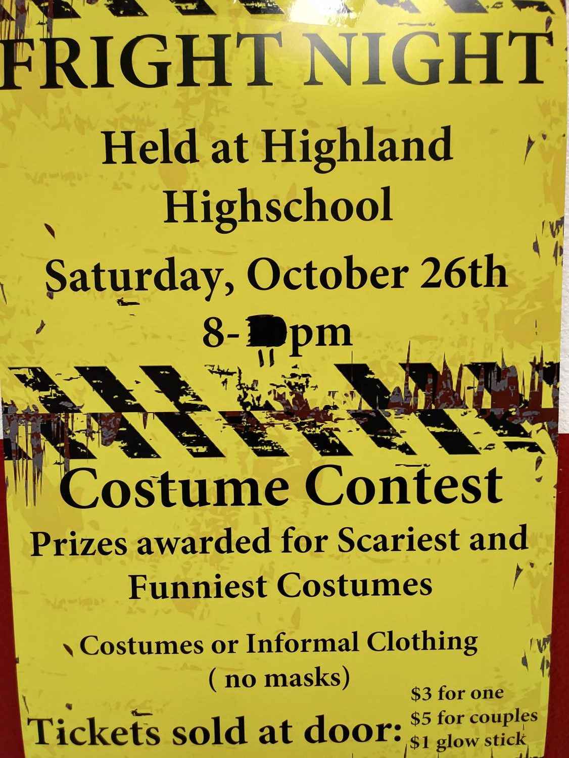 Fright Night posters can be found throughout the hallways, giving students information about the dance.