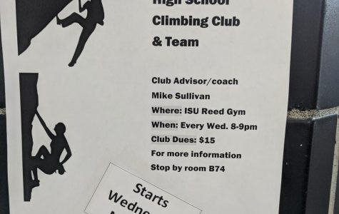 Information about the climbing club is posted all around Highland on posters like this