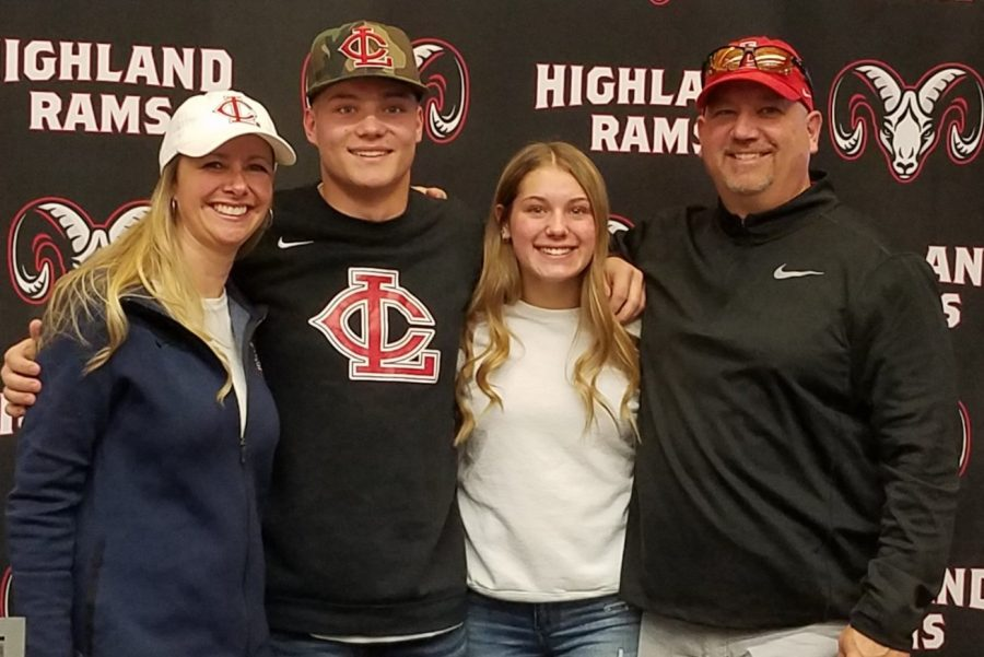 After signing to play baseball for Lower Columbia, Dylan Jester poses with his family for a photo.