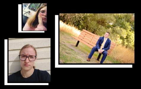 Compilation of Heather Smith (top left) using a filter on Snapchat, Annika Anderson (bottom left) showing her disappointment towards quarantine, and Trenton Brown (right) posing for a Senior photo taken by Adrianne Vaughan.