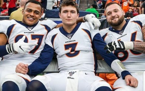 Future stars Noah Fant, (Left) Drew Lock, (Middle) and Dalton Risner (Right) celebrate a blowout win over the Houston Texans