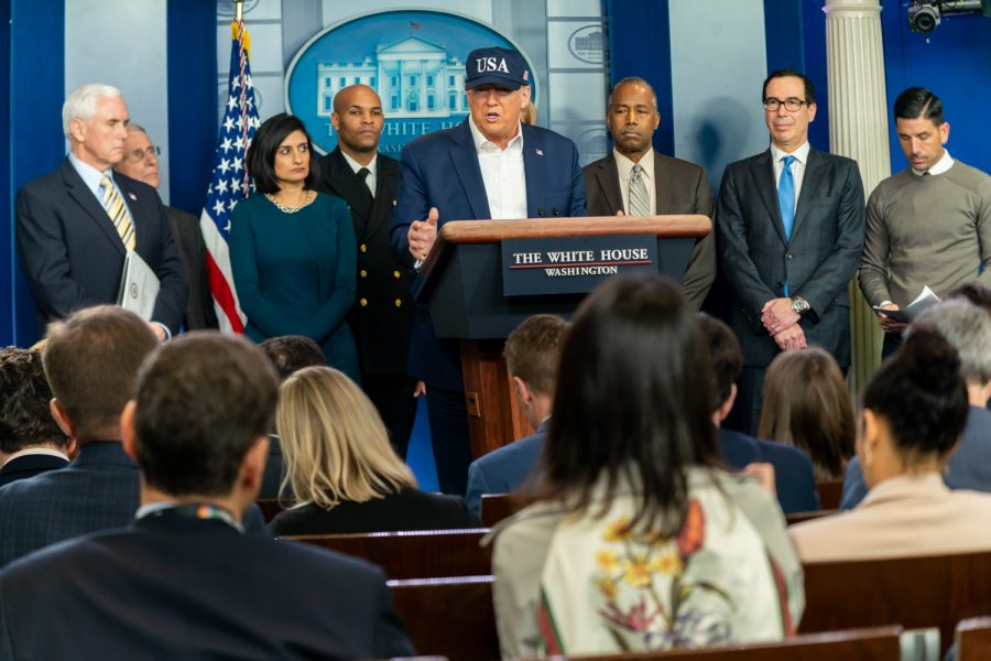 President Donald J. Trump, Vice President Mike Pence and members of the White House Coronavirus Task Force take questions from the press about the coronavirus. Saturday, March 14, 2020, in the James S. Brady Press Briefing Room of the White House.