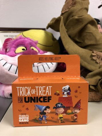 The HHS Key Club is running a Halloween fundraiser to donate money to UNICEF, and students can donate coins to these boxes.