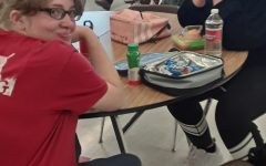 first day of highschool, lunch in the cafeteria.