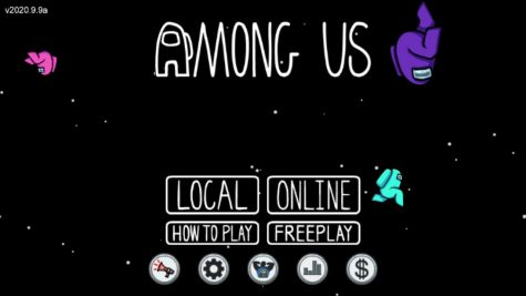 A screenshot taken of the home screen in Among Us.