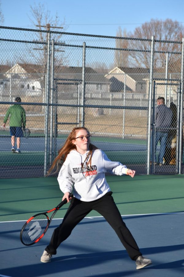 Senior+Abbigail+Summerill+prepares+to+strike+the+ball+during+a+tournament+at+Capell+park+to+win+the+game.