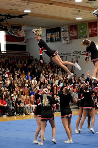 Cheerleaders get the crowd pumped up at the welcome back assembly from the 2019-2020 school year.