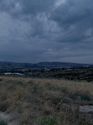 The veiw from the top of Wiggle Worm, overlooking the city on a cloudy day.
