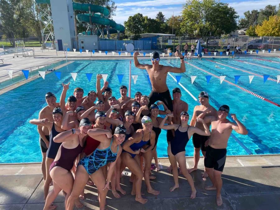 The Highland High school swim team at Ross Park swimming pool after practice.