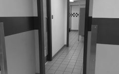 Showing the inside of the womens bathroom, without a door.